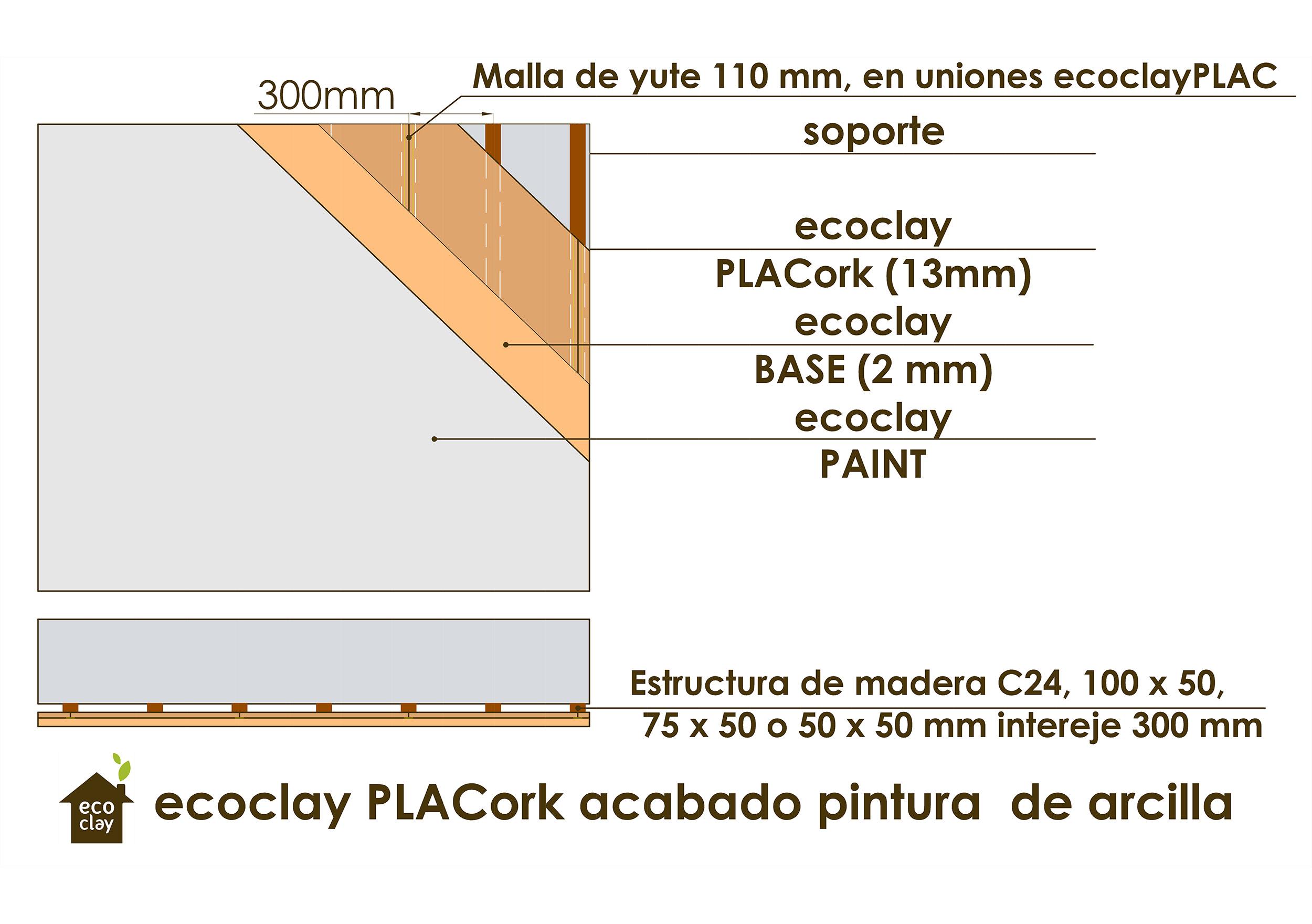 ecoclayPLACork, acabado pintura de arcilla, ecoclay PAINT